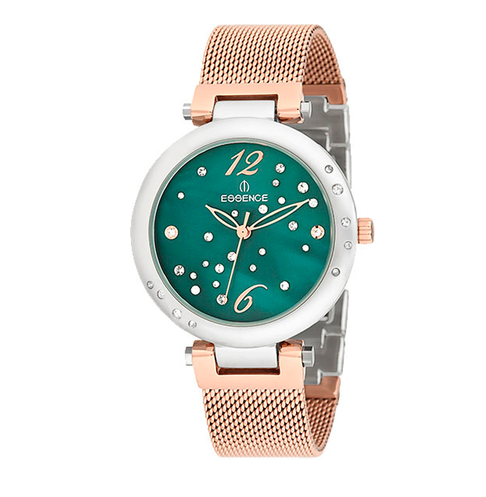 Женские часы ES6362FE.590 на стальном браслете с частичным розовым IP покрытием с минеральным стеклом