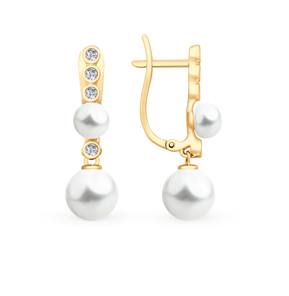 золотые серьги с фианитами и жемчугом SOKOLOV 792133*