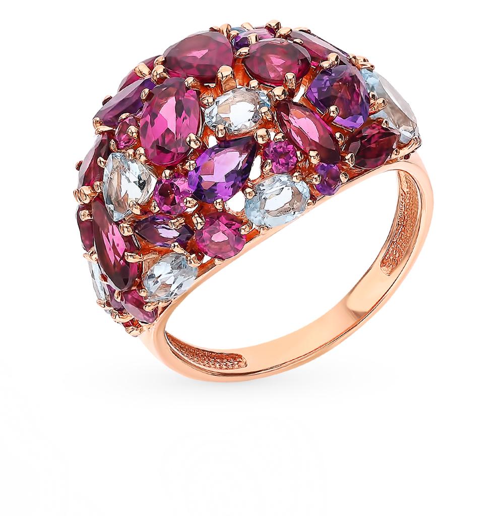 Фото «Золотое кольцо с родолитами, аметистом и топазами»