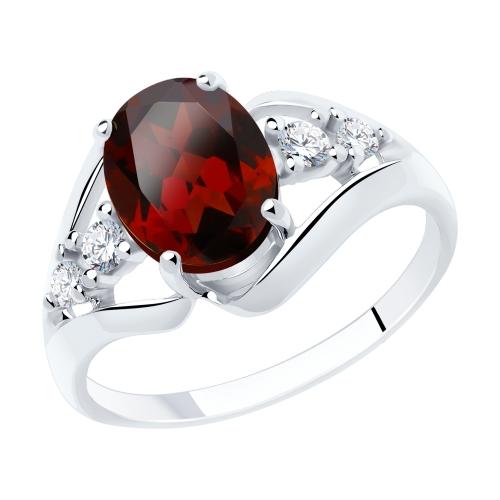 Фото «Серебряное кольцо с фианитами и гранатом SOKOLOV 92011935»