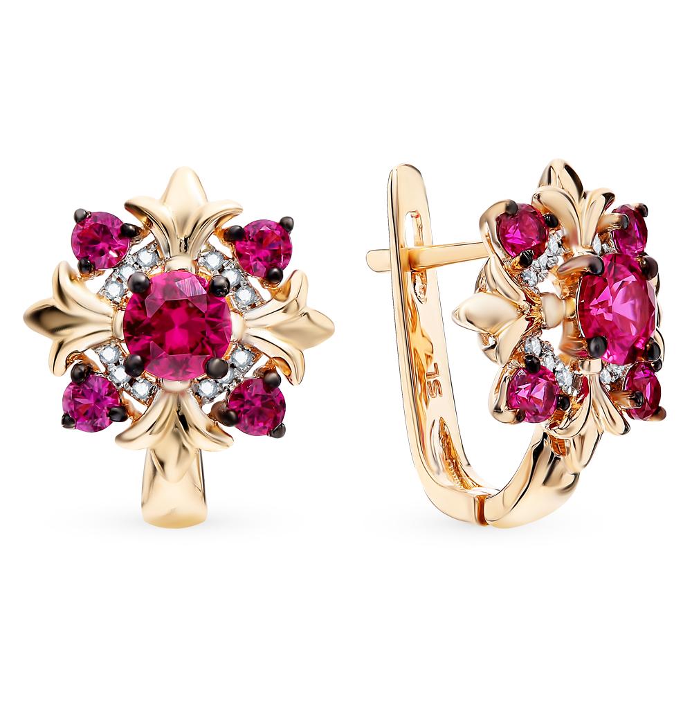 золотые серьги с рубинами и бриллиантами