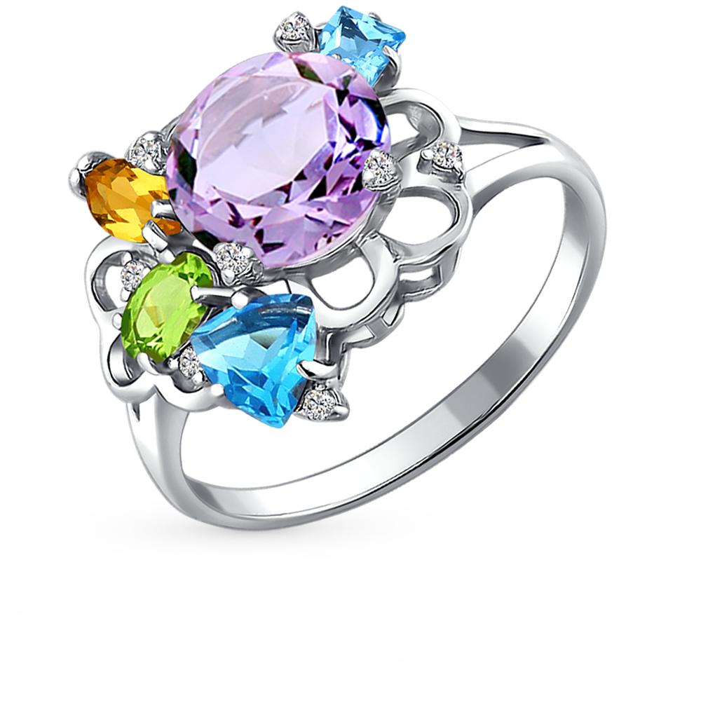 Фото «серебряное кольцо с аметистом, цитринами, топазами, фианитами и хризолитом»