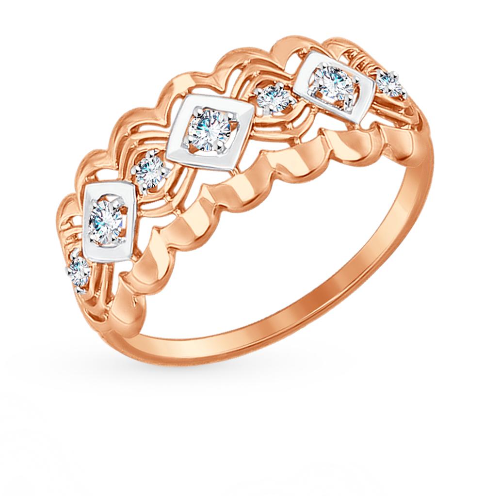 золотое кольцо с фианитами SOKOLOV 017420*