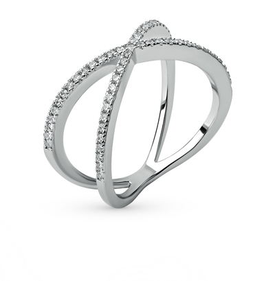 Стальное кольцо с фианитами в Санкт-Петербурге