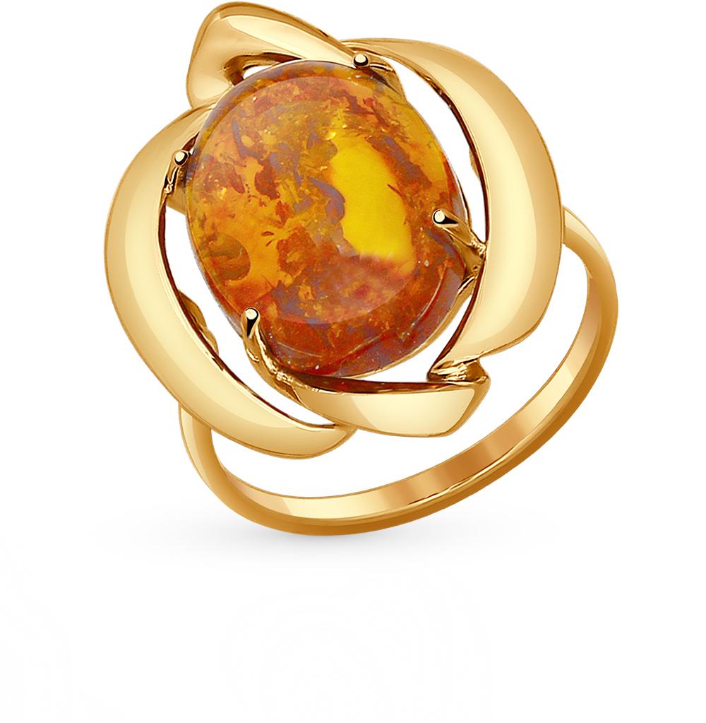золотое кольцо с янтарем SOKOLOV 714413*