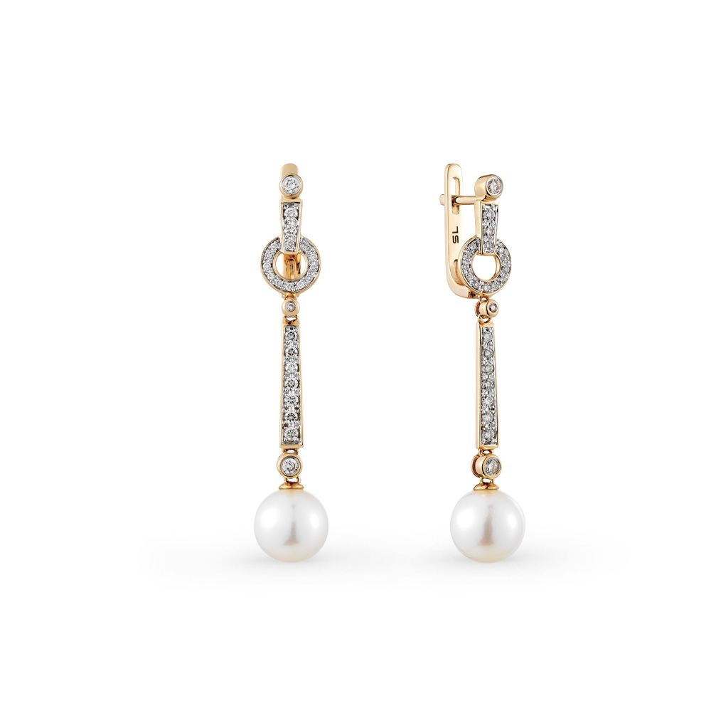 Фото «золотые серьги с жемчугами культивированными и бриллиантами»