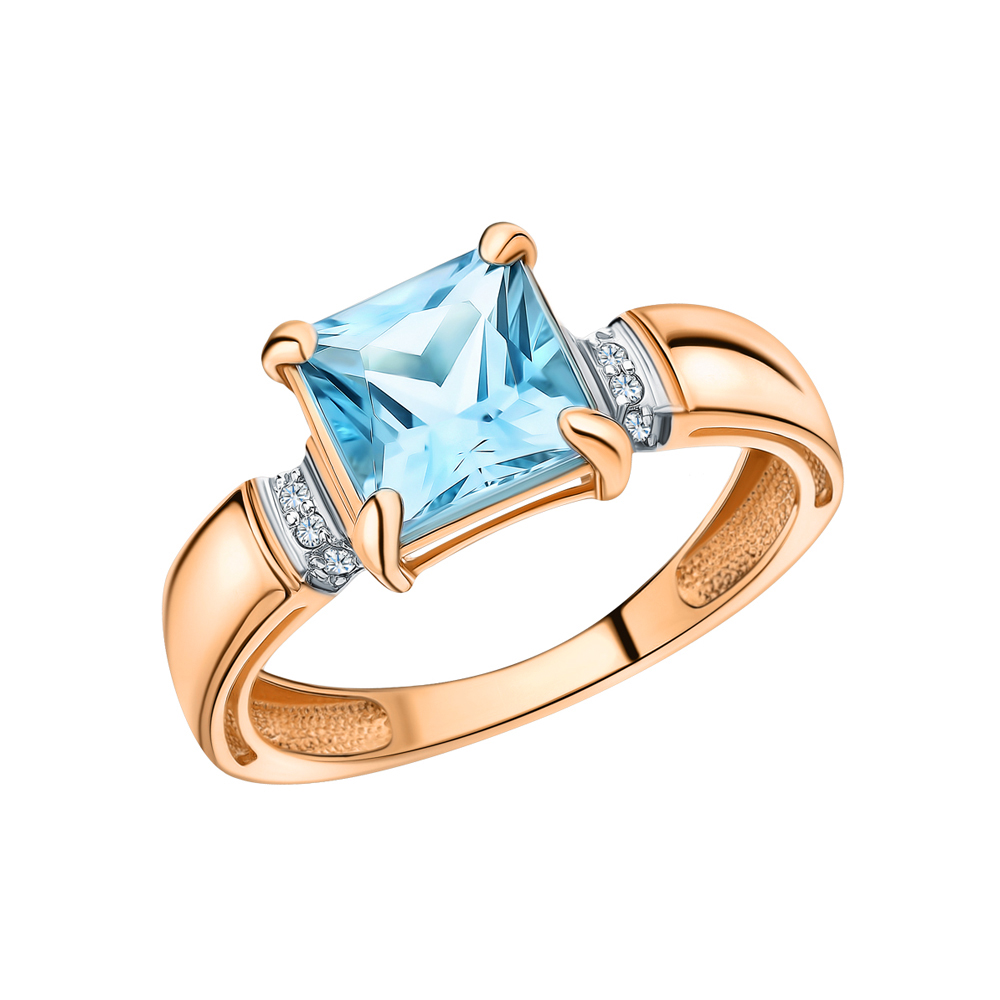 Фото «Золотое кольцо с топазом и бриллиантами»