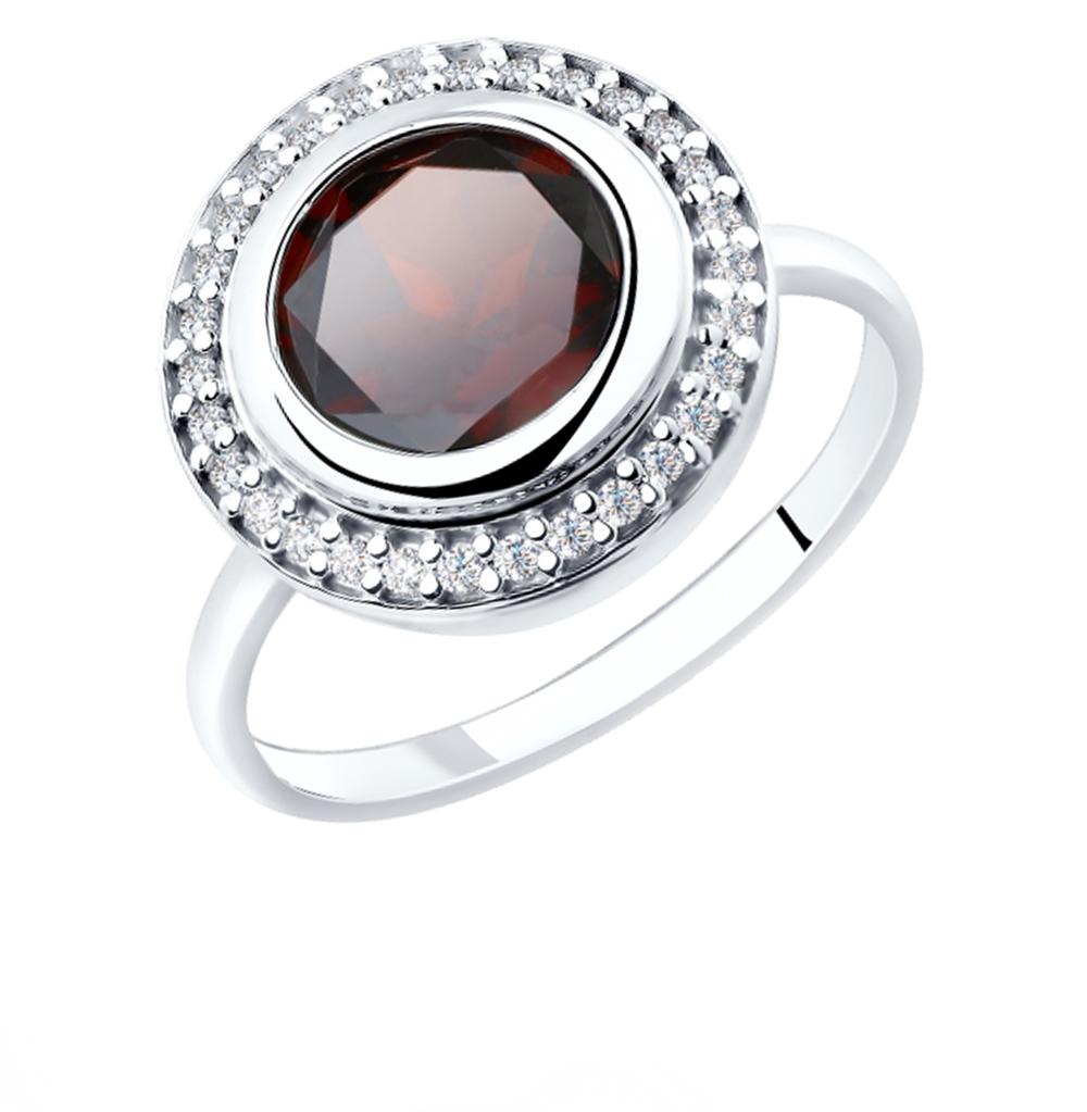 Серебряное кольцо с фианитами и гранатом SOKOLOV 92011853 в Екатеринбурге