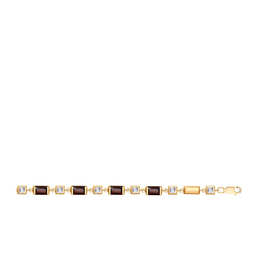 Фото «Золотой браслет с фианитами и гранатом SOKOLOV 750279*»