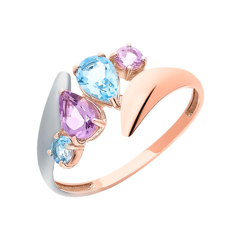 Золотое кольцо с аметистом и топазами в Санкт-Петербурге