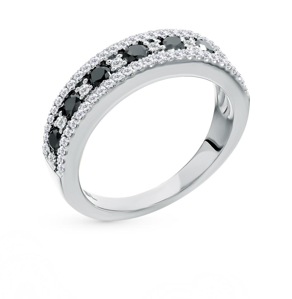 золотое кольцо с чёрными бриллиантами и бриллиантами