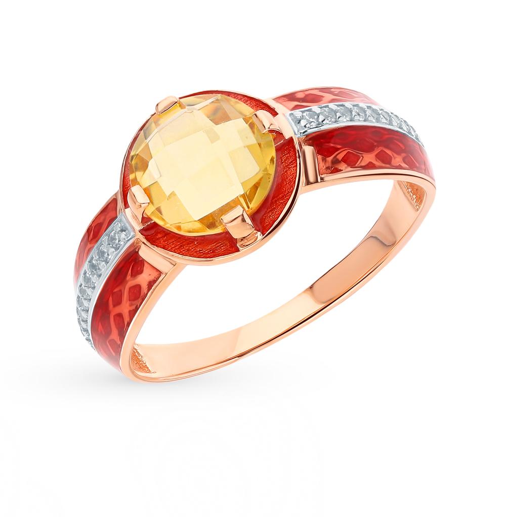 Золотое кольцо с фианитами, цитринами и эмалью в Санкт-Петербурге
