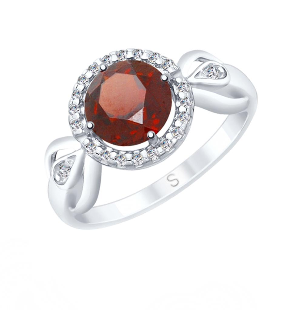 Серебряное кольцо с фианитами и гранатом SOKOLOV 92011675 в Санкт-Петербурге