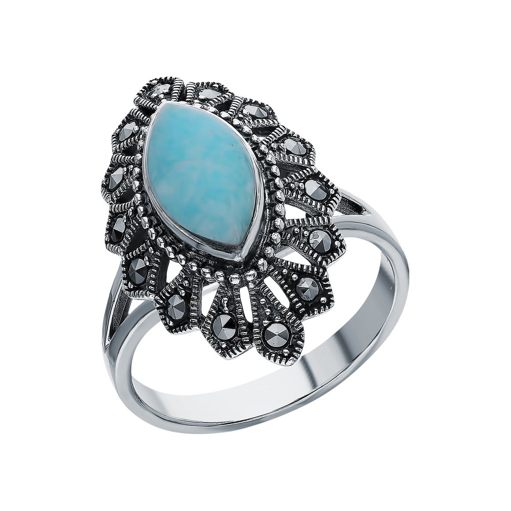 Фото «Серебряное кольцо с амазонитом и марказитами swarovski»