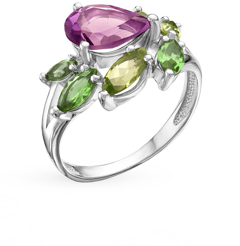 серебряное кольцо с султанитами, хризолитом и аметистом
