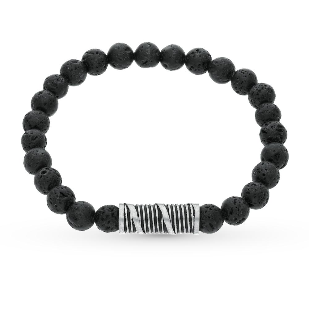 Фото «стальной браслет с лавовыми камнями»
