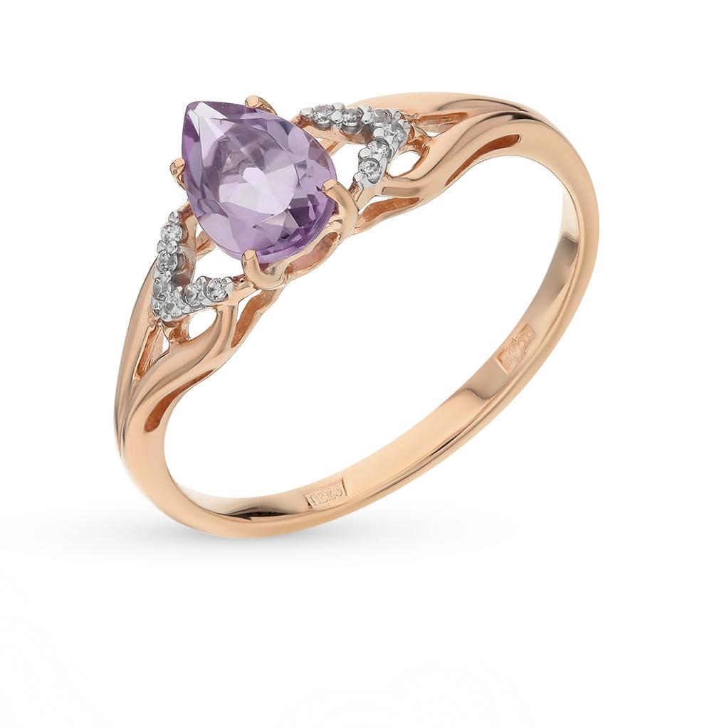 Фото «Золотое кольцо с аметистом и фианитами SOKOLOV 713831*»