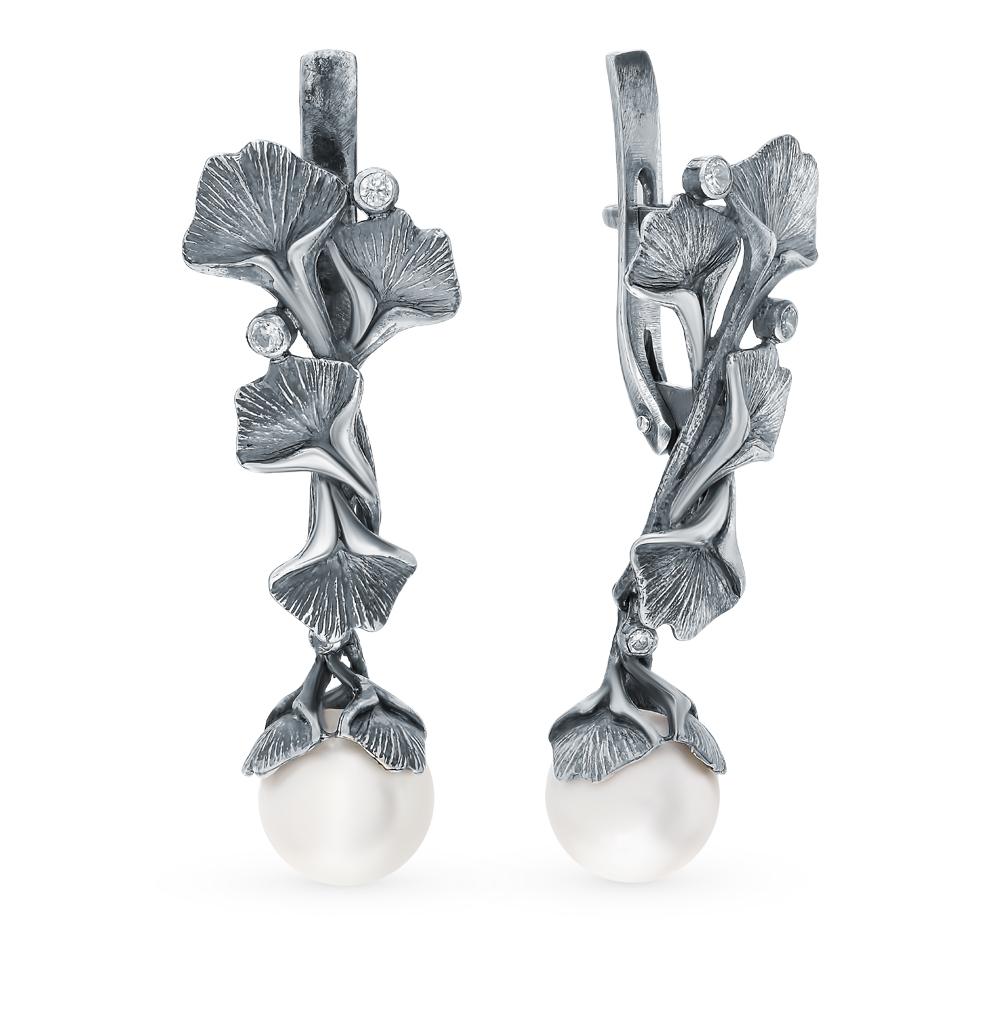 Фото «Серебряные серьги с фианитами и жемчугом»