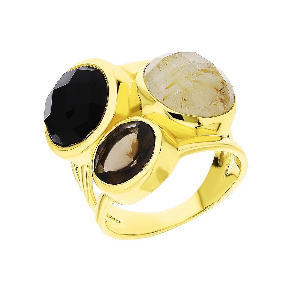 Фото «Серебряное кольцо с ониксом и кварцем»