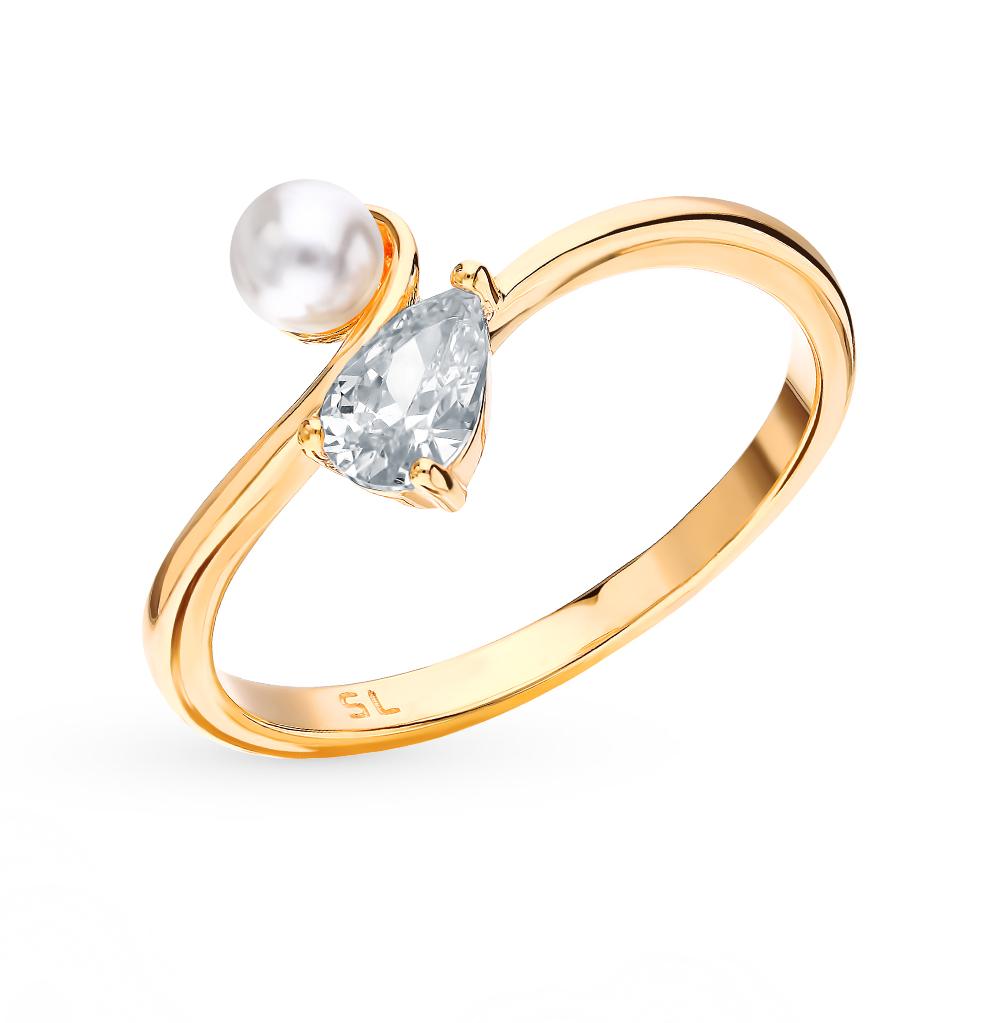 Серебряное кольцо с фианитом и жемчугом в Санкт-Петербурге