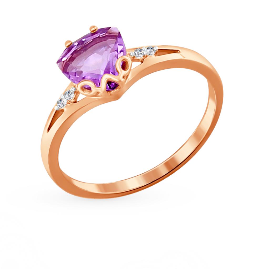 золотое кольцо с аметистом и фианитами SOKOLOV 713827*