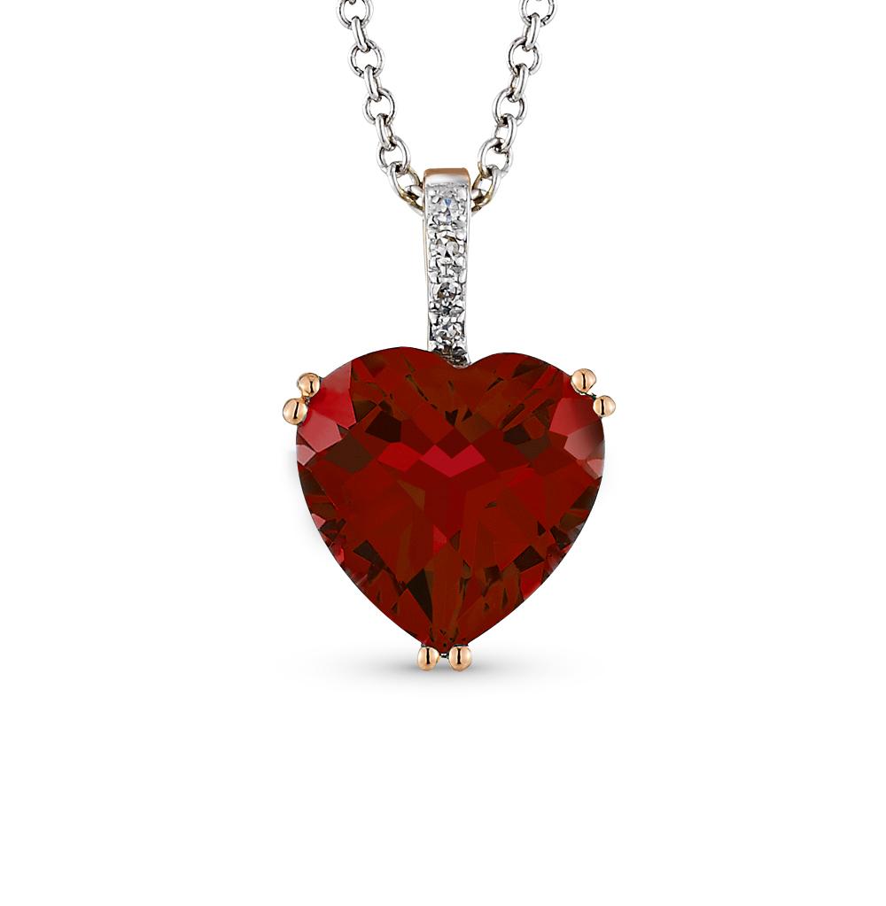 Золотая подвеска с гранатом и бриллиантами SUNLIGHT  красное и ... 4918ca9a64c
