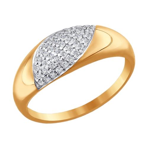 золотое кольцо с фианитами SOKOLOV 015827*