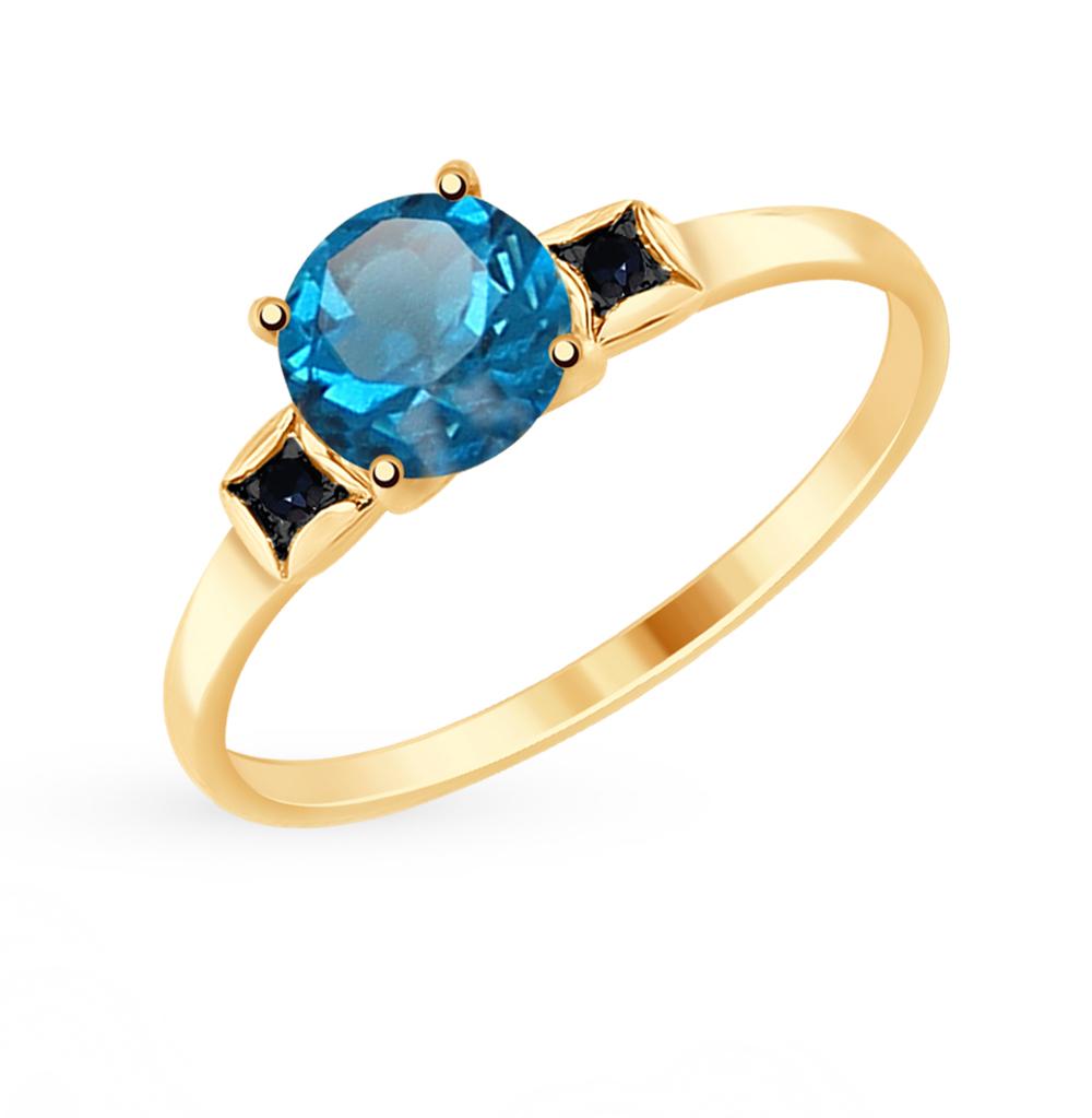 золотое кольцо с топазами и фианитами SOKOLOV 714926*