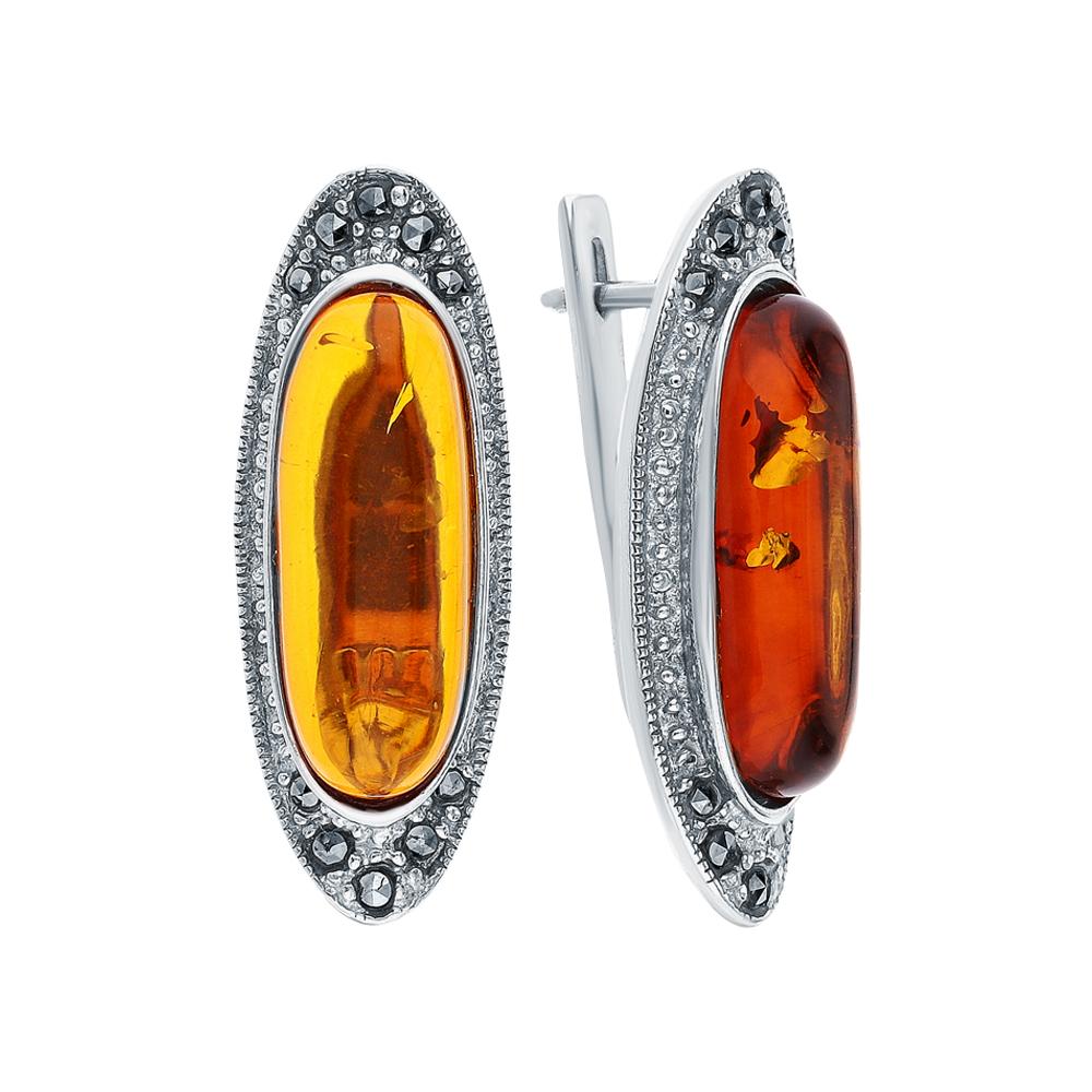 Фото «Серебряные серьги с марказитами и янтарем»