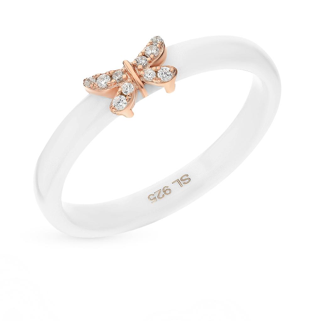 керамическое кольцо с серебром и фианитами