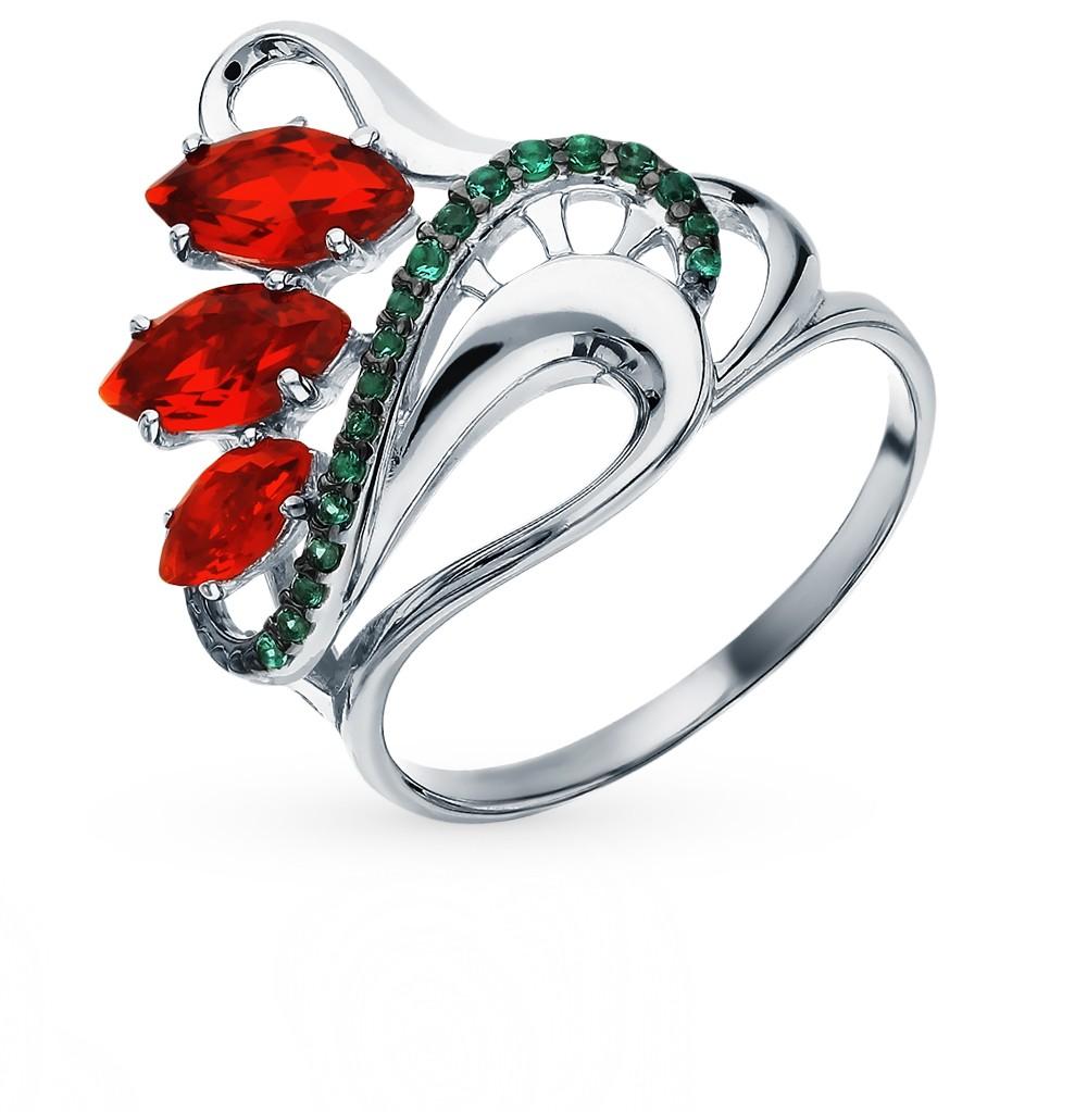Серебряное кольцо с рубеллитами и фианитами в Санкт-Петербурге