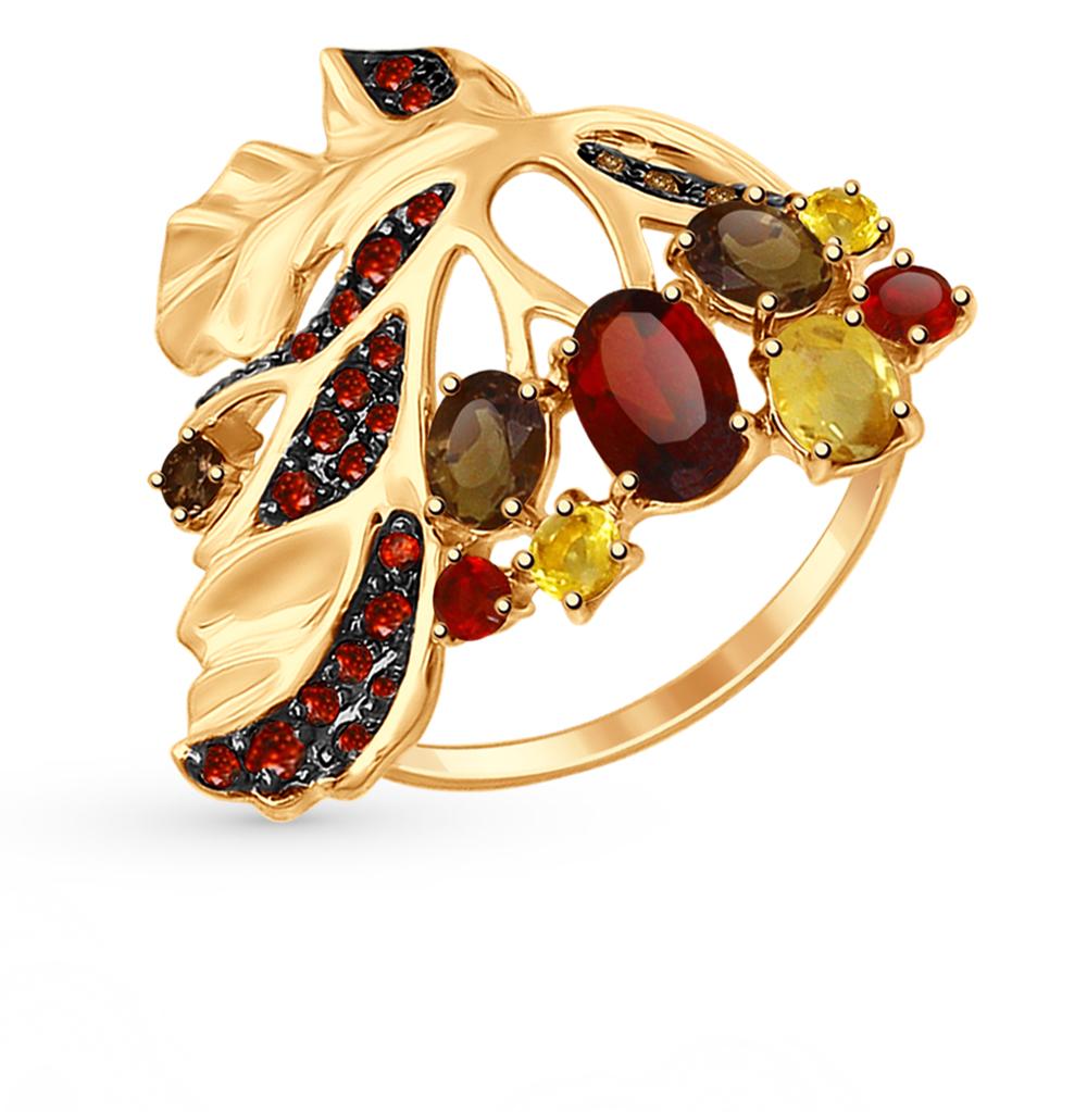 Фото «Золотое кольцо с раухтопазами и гранатом SOKOLOV 714717*»