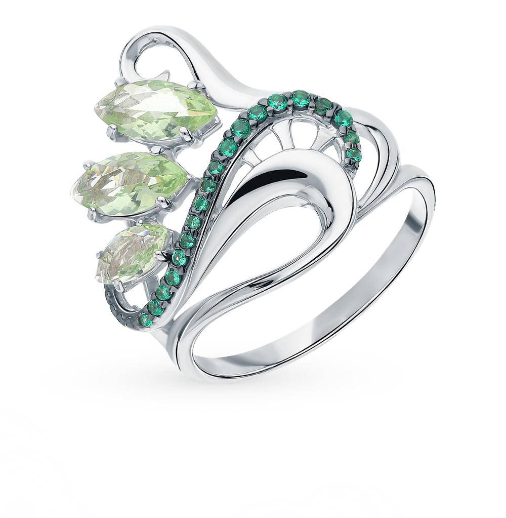 Серебряное кольцо с фианитами и празиолит в Екатеринбурге