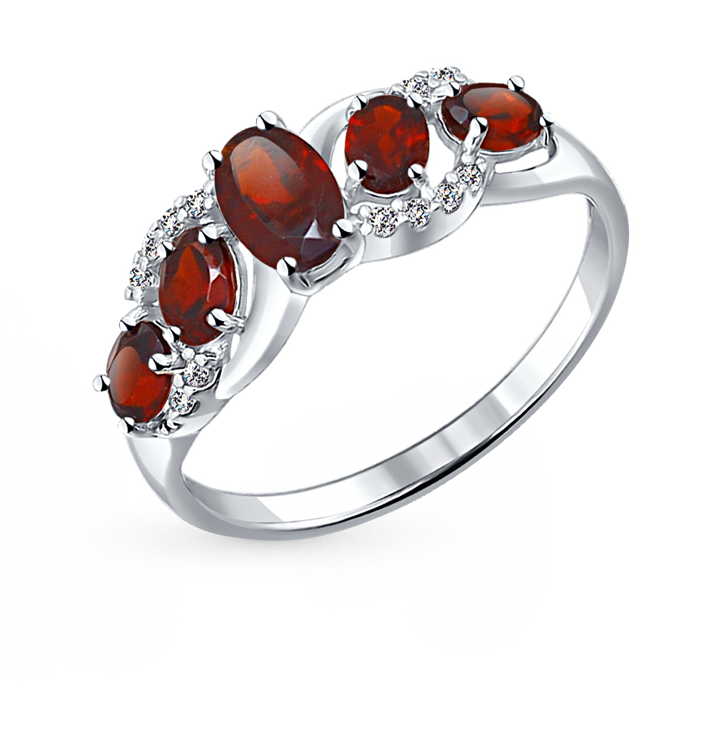 Фото «Серебряное кольцо с фианитами и гранатом SOKOLOV 92011009»