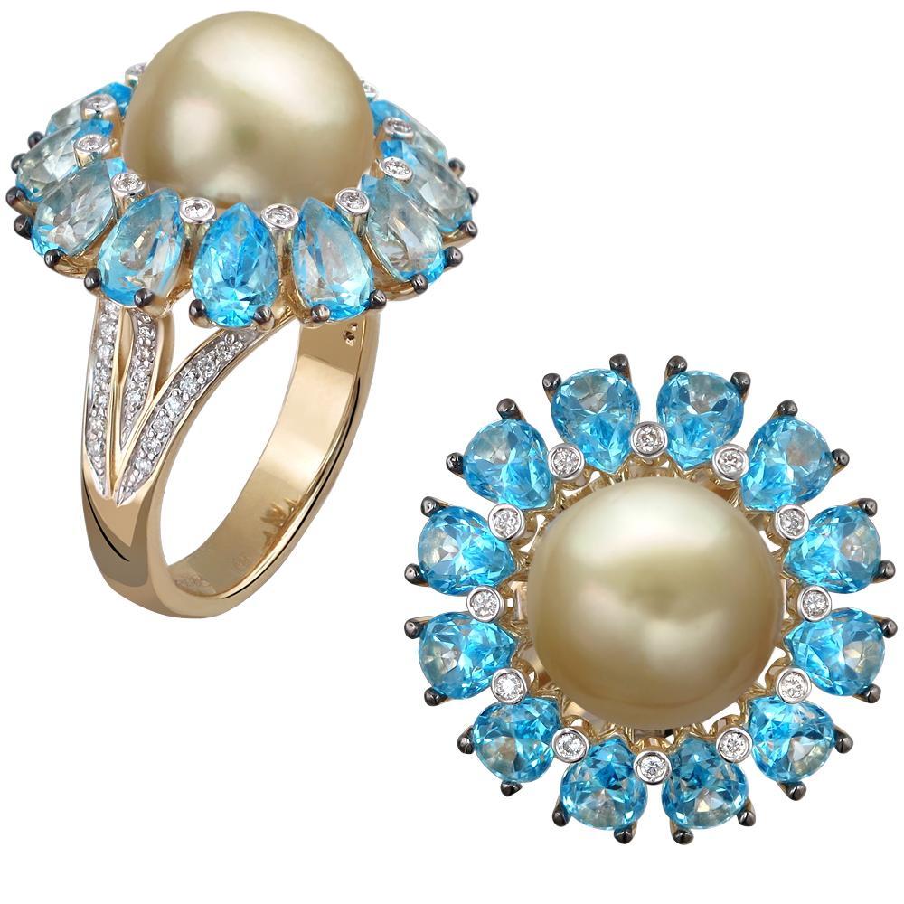 Фото «Золотое кольцо с топазами, жемчугами культивированными и бриллиантами»