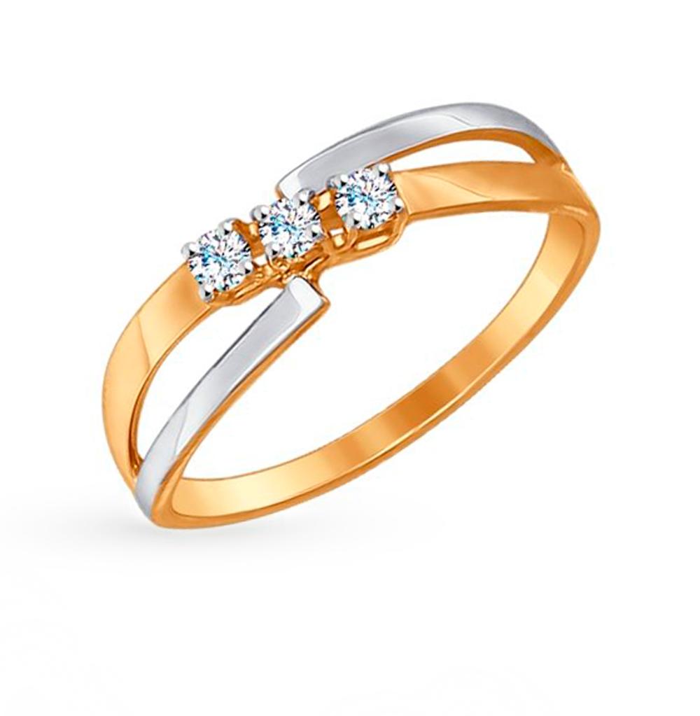 Золотое кольцо с фианитами SOKOLOV 017229 в Екатеринбурге