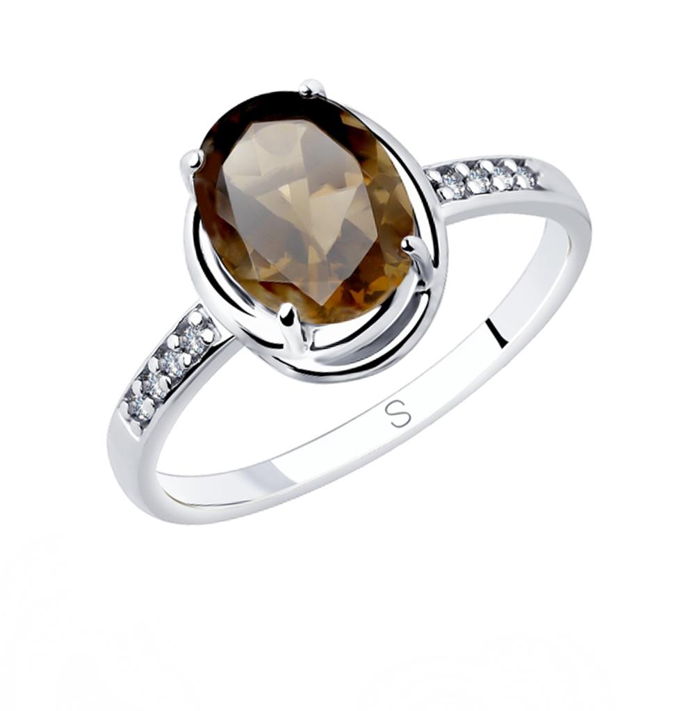 серебряное кольцо с раухтопазами и фианитами SOKOLOV 92011770