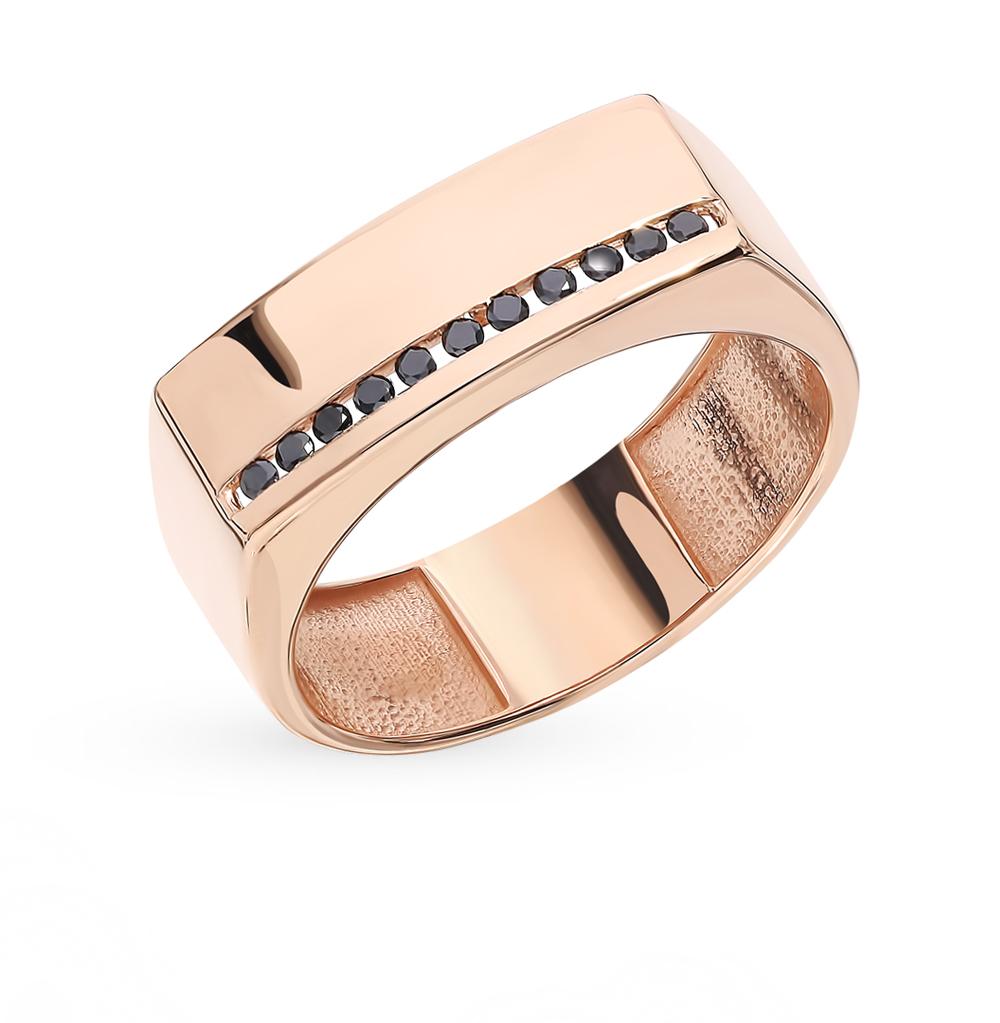 Золотое кольцо с чёрными бриллиантами и бриллиантами в Екатеринбурге