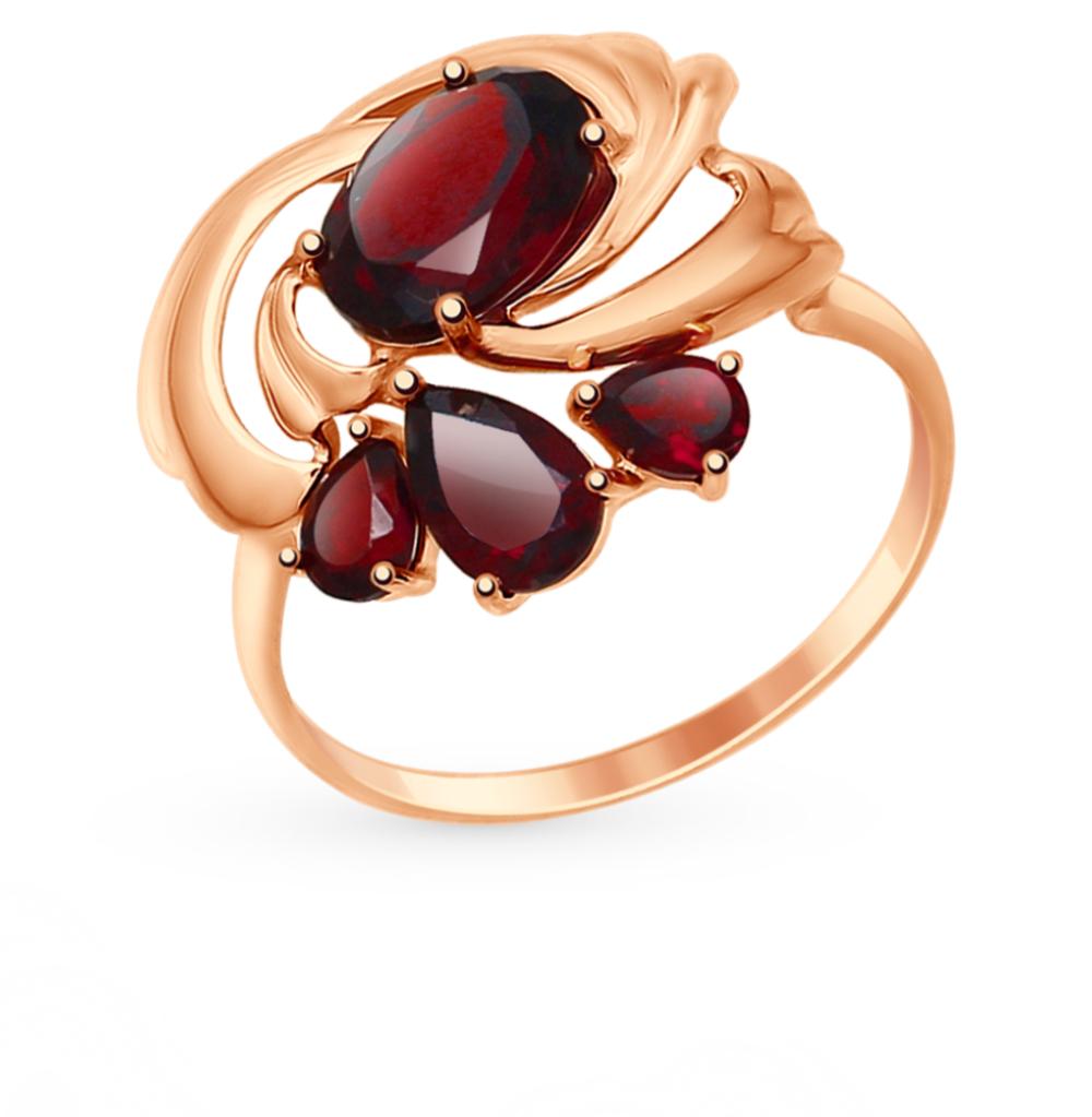 золотое кольцо с гранатом SOKOLOV 714722*