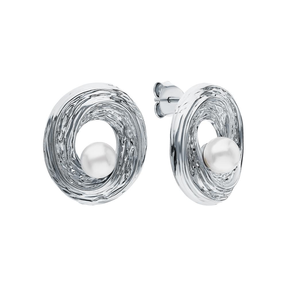 Серебряные серьги с имитацией жемчуга в Екатеринбурге