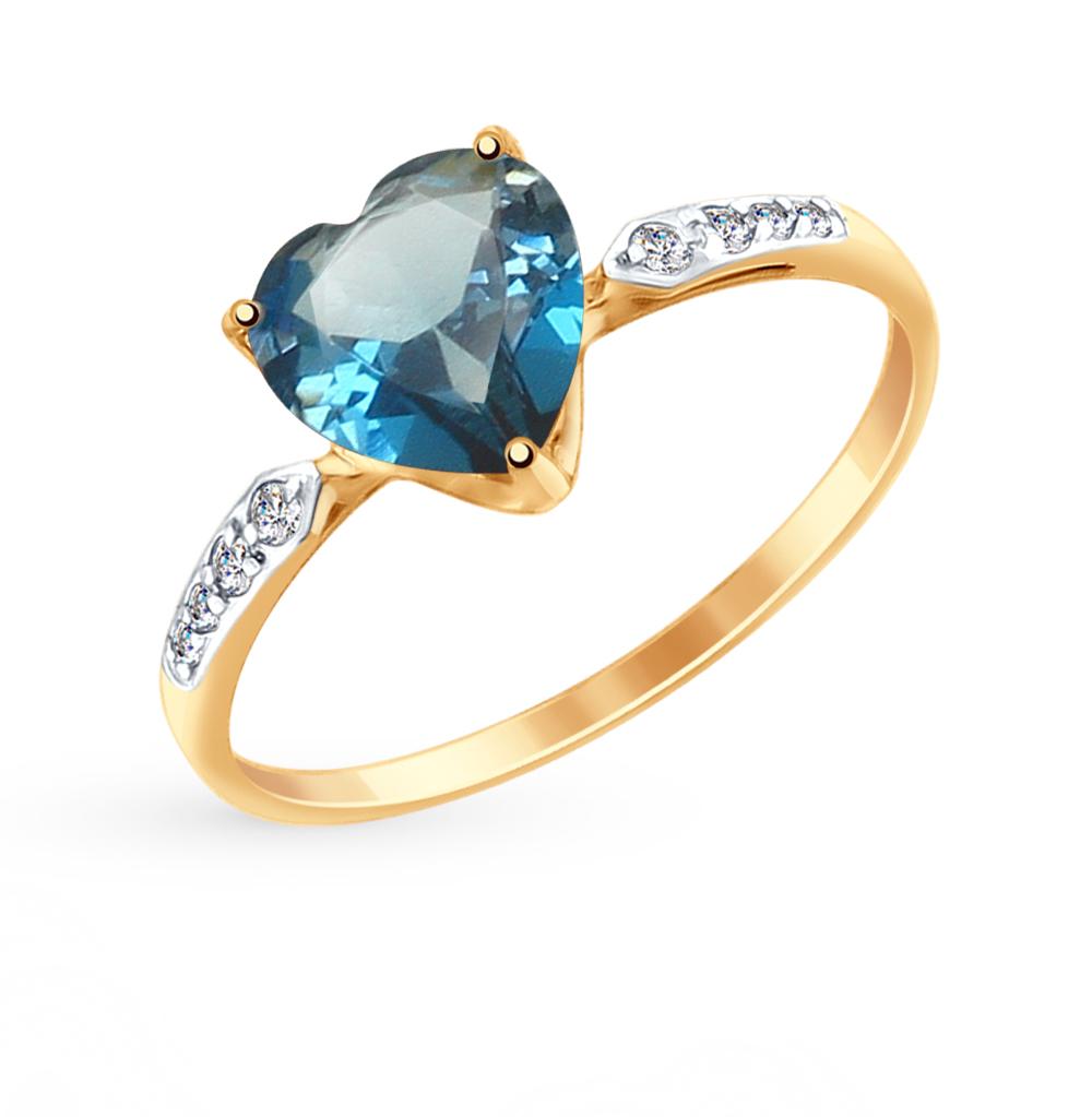 Золотое кольцо с топазами и фианитами SOKOLOV 714993* в Екатеринбурге