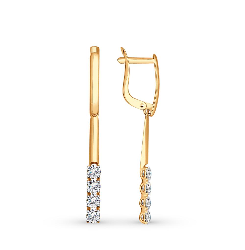 золотые серьги с фианитами SOKOLOV 81020277*