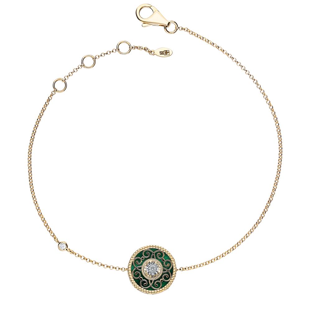 золотой браслет с малахитом и бриллиантами