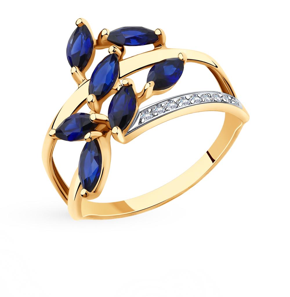 золотое кольцо с корундом и фианитами SOKOLOV 715691