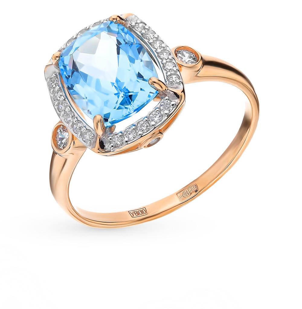 золотое кольцо с топазами и фианитами SOKOLOV 714983*
