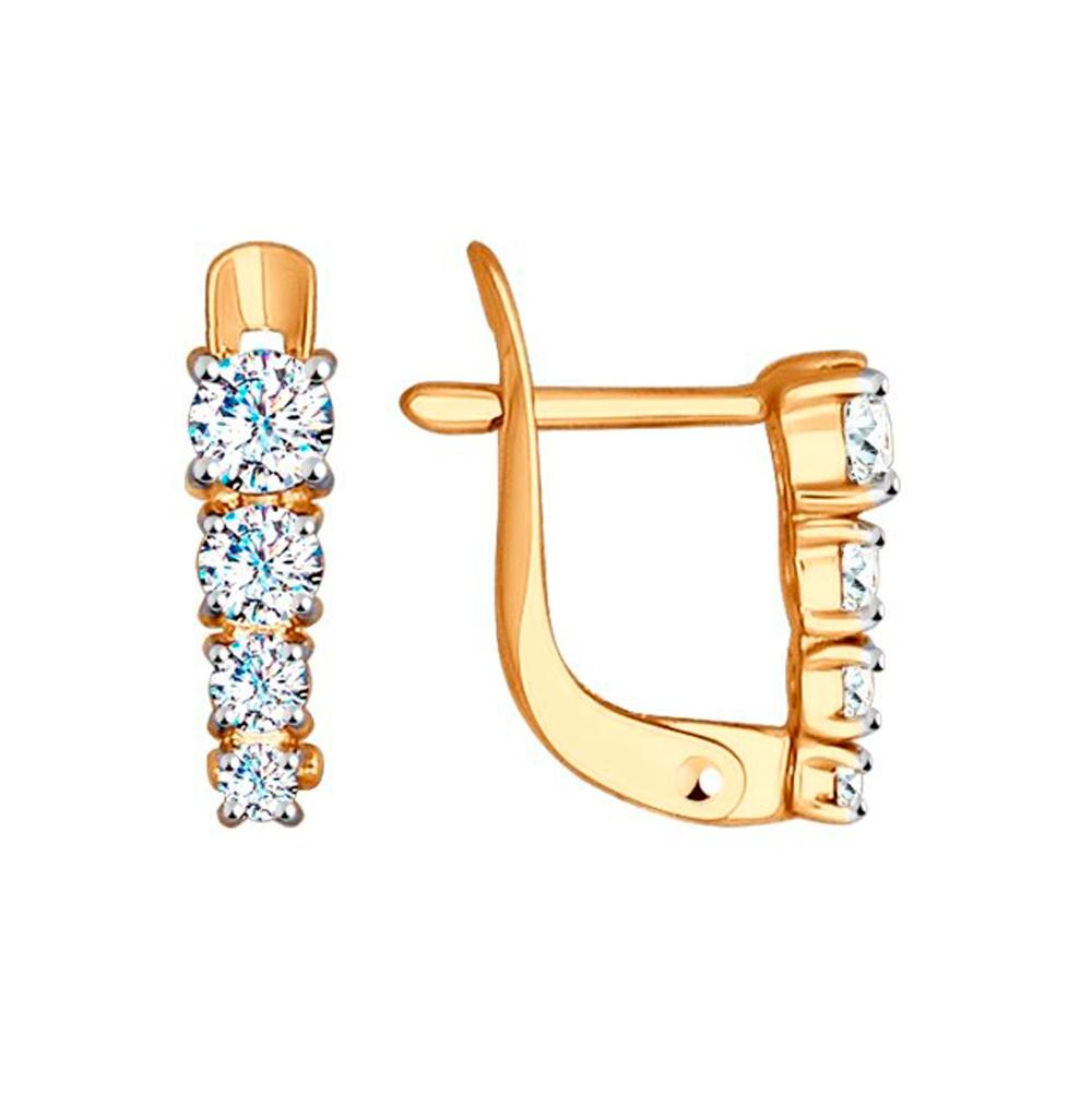 Фото «Золотые серьги с фианитами SOKOLOV 027455»