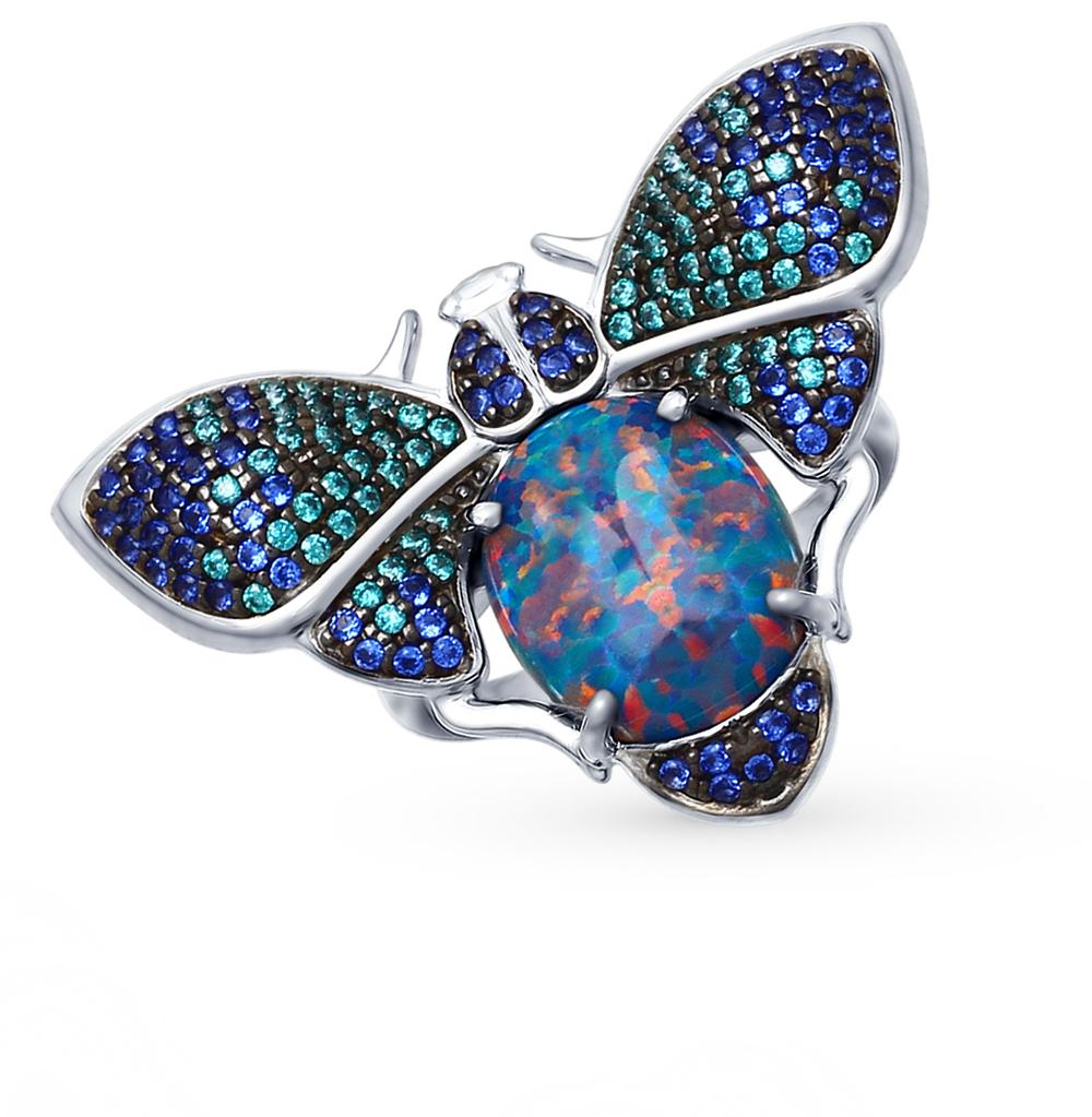 серебряное кольцо с опалами SOKOLOV 83010046