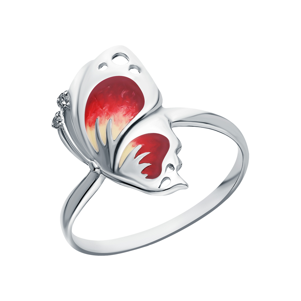 Фото «Серебряное кольцо с эмалью и кубическим цирконием»