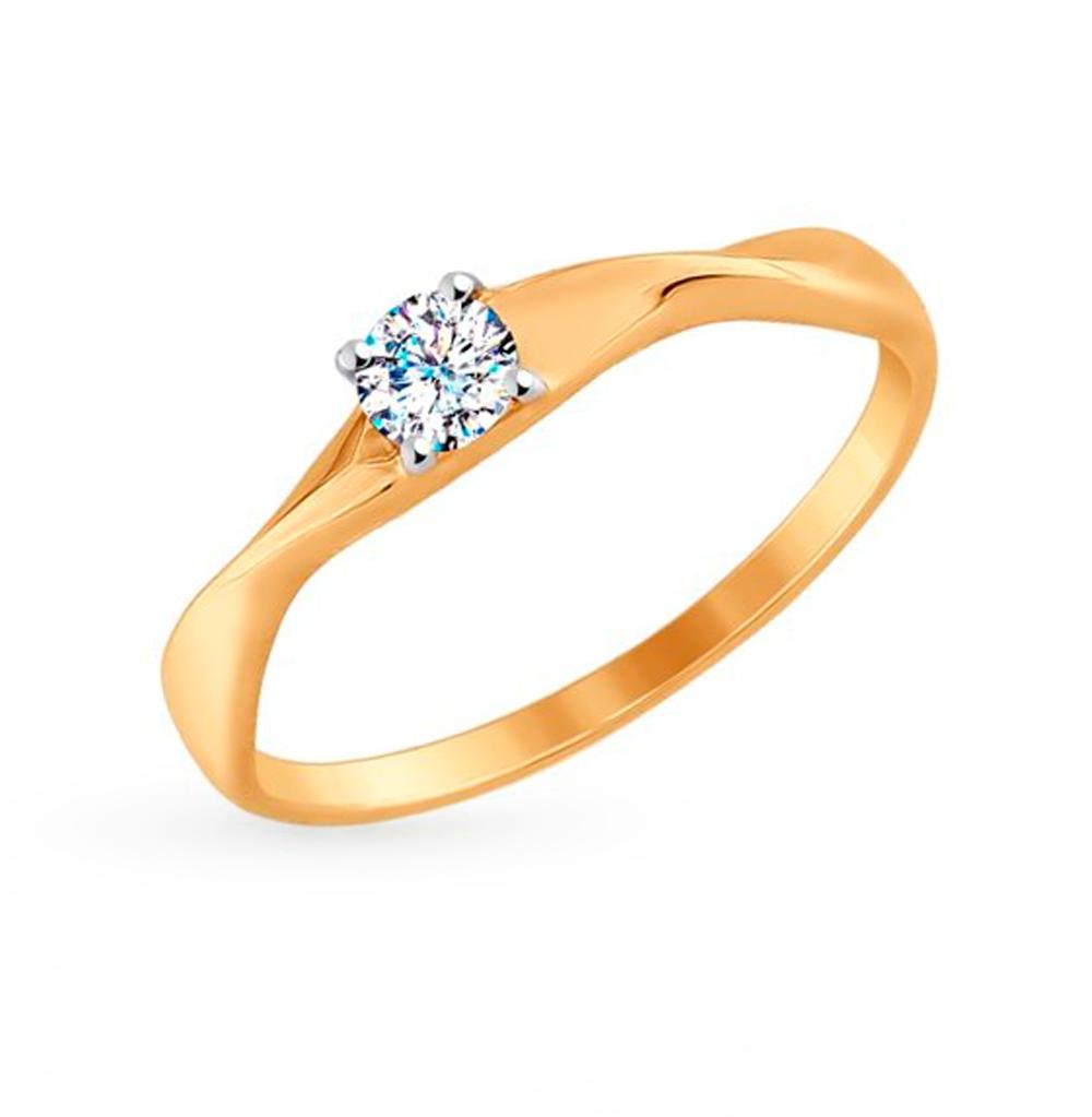 золотое кольцо с фианитами SOKOLOV 017599