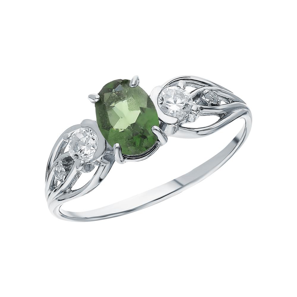 Серебряное кольцо с фианитами и турмалинами имитациями в Екатеринбурге
